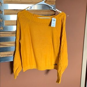Mustard off the shoulder Hollister sweater - NWT